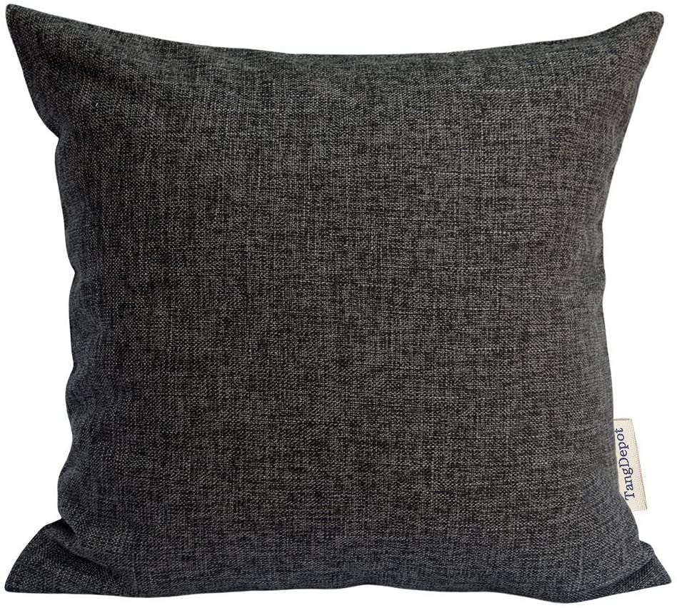 TangDepot Heavy Lined Linen Cushion Cover, Throw Pillow Cover, Square Decorative Pillow Covers, Indoor/Outdoor Pillows Shells - (20