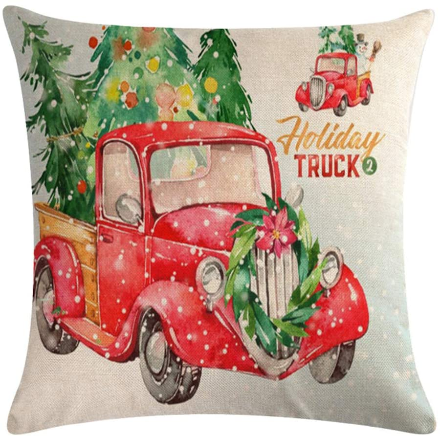 Auomily Christmas Decorations Pillow Covers Red Car with Christmas Tree Winter Holiday Home Decor Cotton Linen Throw Pillow Case Cushion Cover 18 x 18 Inch Xmas Gift (Holiday Truck)