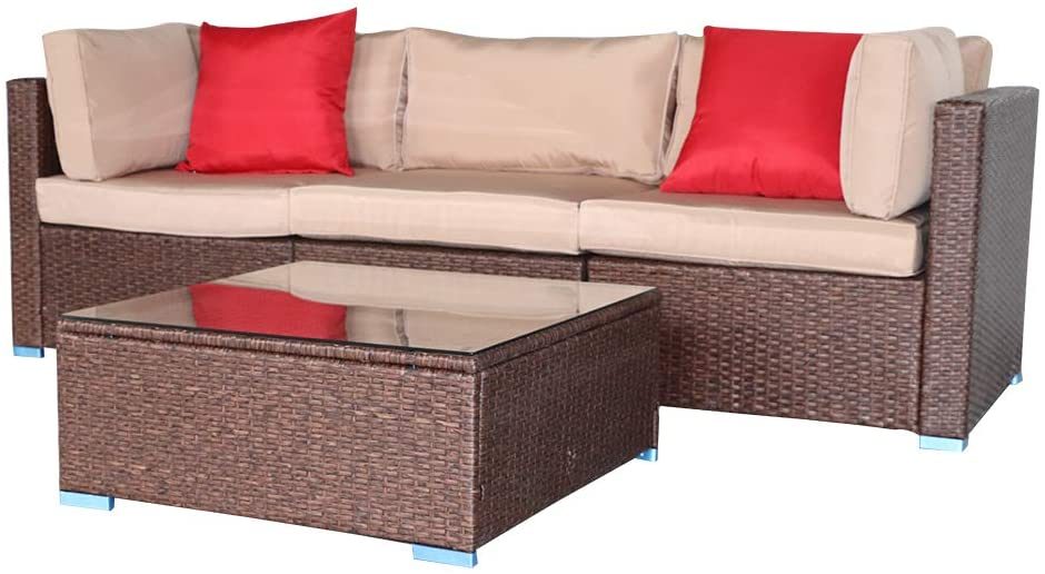 VINGLI Oshion 4 Pieces Wicker Patio Conversation Set Outdoor Furniture Set, All-Weather Rattan Patio Sectional Sofa Set Combination Sofa with Coffee Table