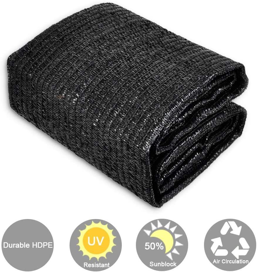CERBIOR Sunblock 50% Shade Cloth Sun Net UV Resistant, Garden Shade Mesh Fabric for Patio, Plant Cover, Greenhouse, 6x50ft, Black
