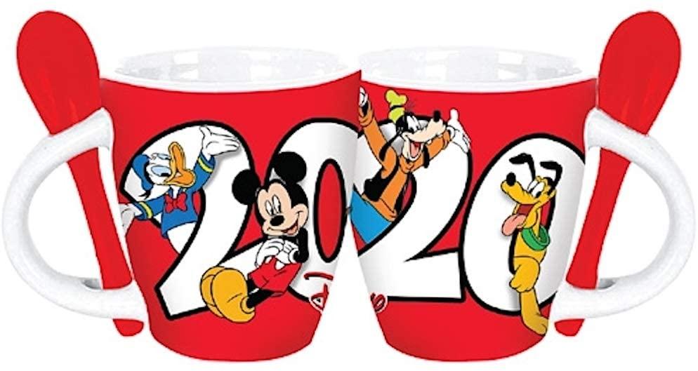 Disney Dated 2020 Retro Mickey Goofy Donald Pluto Espresso Mug, Red White