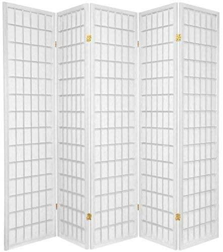 Oriental Furniture 6 ft. Tall Window Pane Shoji Screen - White - 5 Panels