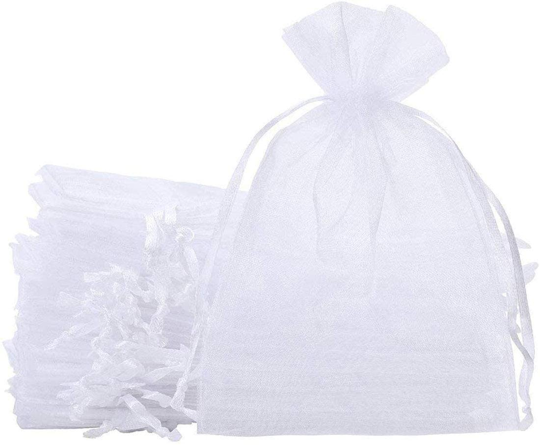 100 Pcs 4x6 inch Gift Wrap Bags, Organza Sheer Clear Tulle Fabric, White Drawstring Sachet for Baby Shower Favor, Birthday Party Favor, Bachelorette Party, Girls Graduation,Small Votive Candles,Marble