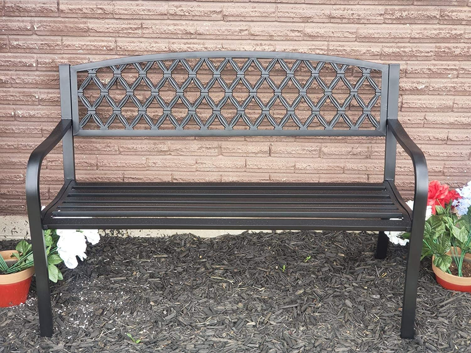 Patio Garden Bench Park Bench Loveseats for Outdoor Yard Porch, Patio, Garden, Lawn, Balcony, Backyard and Indoor Work Entryway, Metal Material Easy to Assemble Best Loveseats - 50
