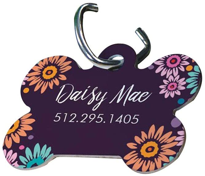GiftsForYouNow Personalized Purple Daisy Dog Bone Tag