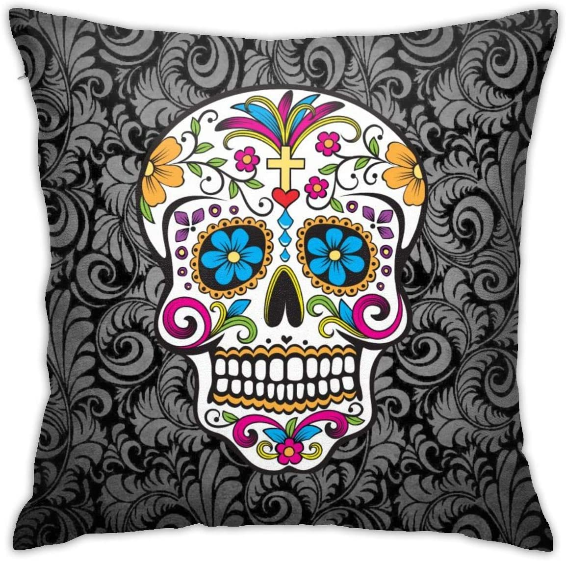 Cartoon Skull Colorful Pattern Throw Pillow Covers Decorative 18x18 Inch Pillowcase Square Cushion Cases for Home Sofa Bedroom Livingroom