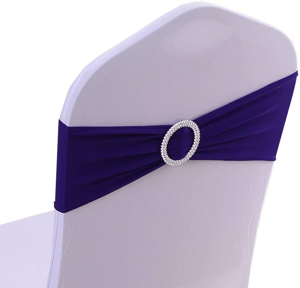 Tvoip 10PCS Chair Cover Stretch Band with Buckle Slider Sashes Bow Wedding Banquet Chair Decoration (Dark Purple)