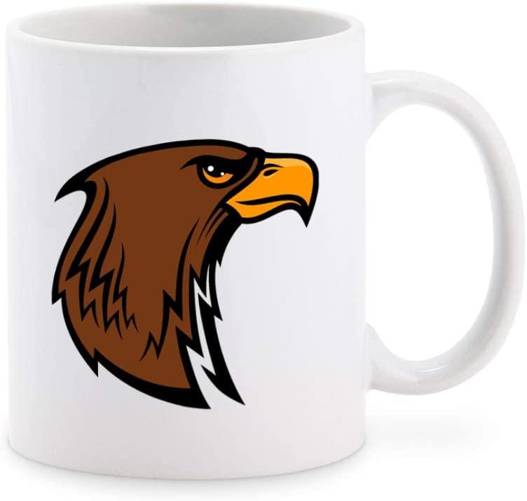 Simple Brown Eagle School Sport Mascot Cartoon Coffee Mug Tea Cup Novelty Gift Mugs 11 oz