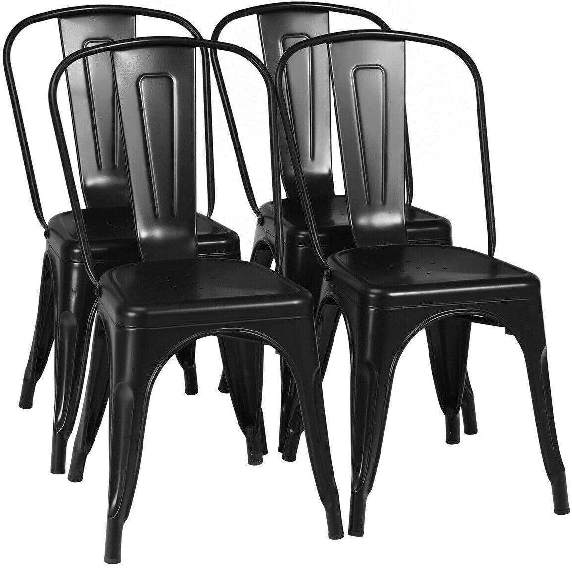 COSTWAY Metal Bar stools Set of 4, with Removable Back, Cafe Side Chairs with Rubber Feet, Stylish and Modern Chairs, for Kitchen, Dining Rooms, and Side Bar(Black,18''