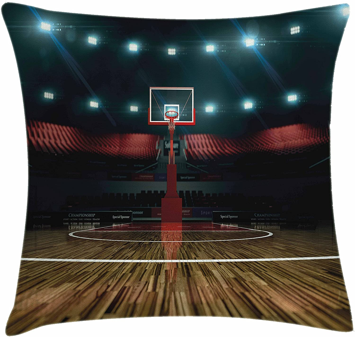 Ambesonne Teen Room Throw Pillow Cushion Cover, Professional Basketball Arena Stadium Before The Game Championship Sports Image, Decorative Square Accent Pillow Case, 24 X 24, Dark Brown