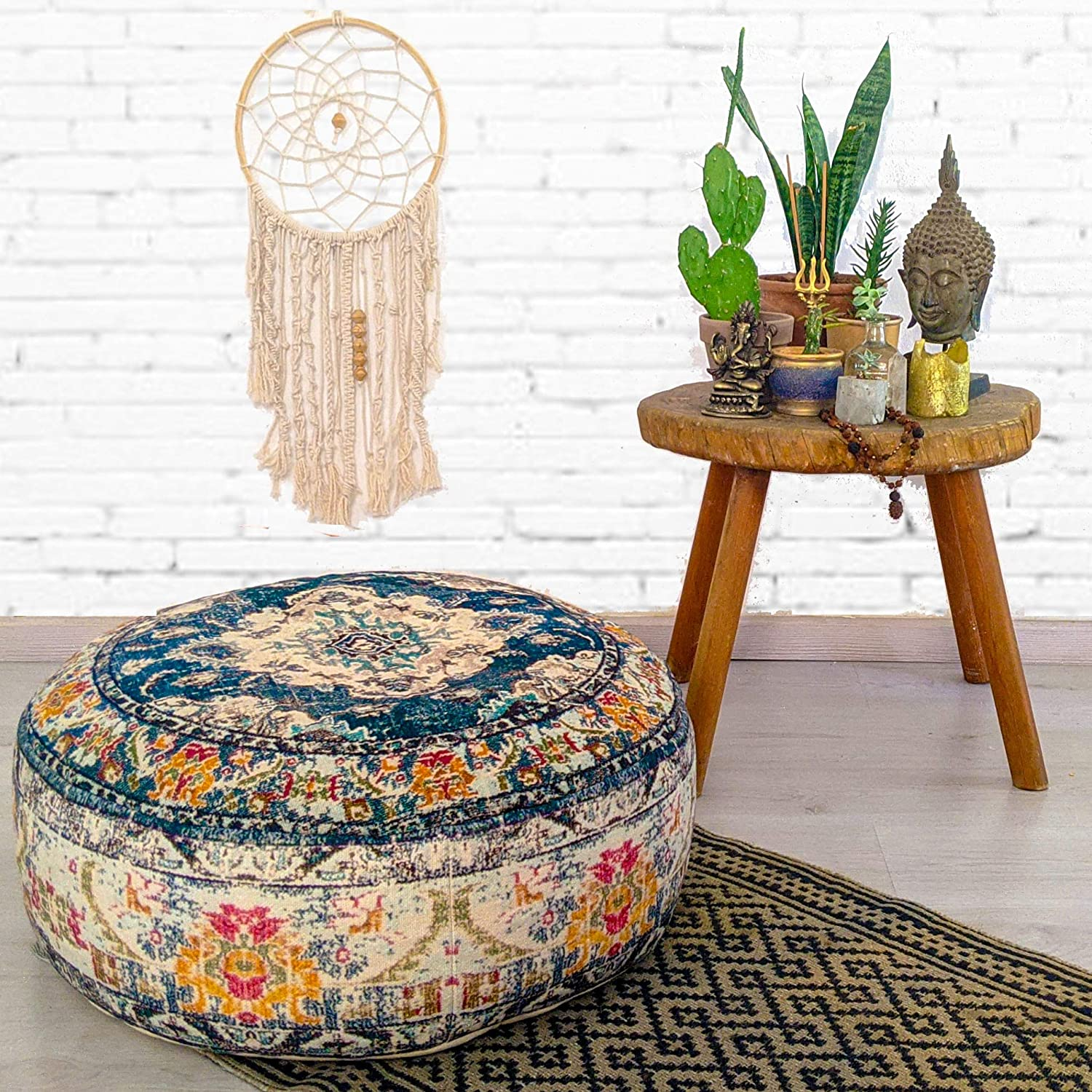 Mandala Life ART Bohemian Yoga Decor Floor Cushion Cover - 24x8 inches - Round Meditation Carpet Pillow Case - Printed Cotton Rug Pouf