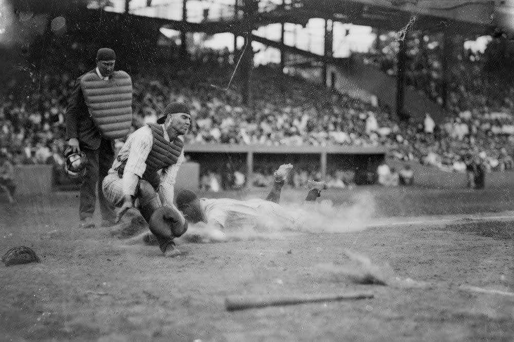 Lou Gehrig Sliding into Home Plate Baseball - Vintage Photograph (12x18 Art Print, Wall Decor Travel Poster)
