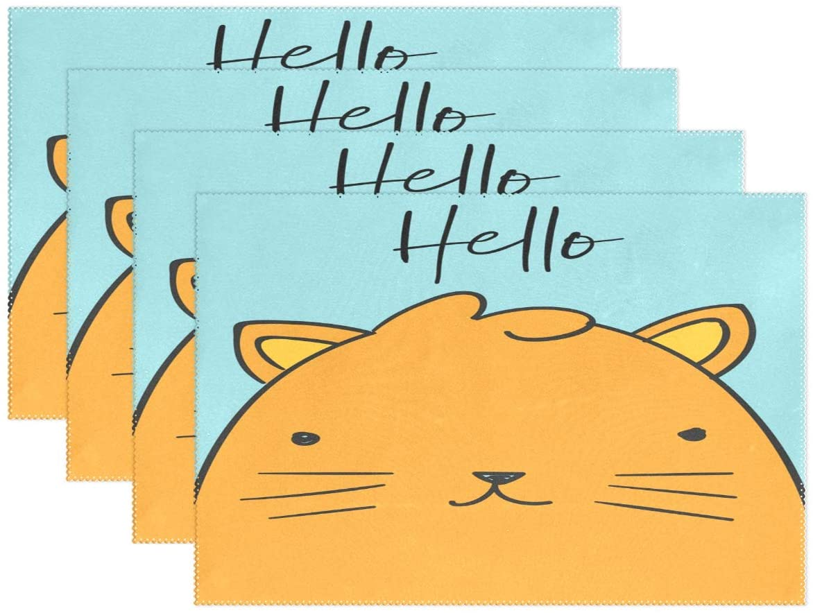 UNISE Cartton Orange Hello Cat Placemats Heat Insulation Non-Slip Washable Lunching Mat 12'' X 18'' Set of 1 Rectangle Plate Pads for Kitchen Dining Table Restaurant Party