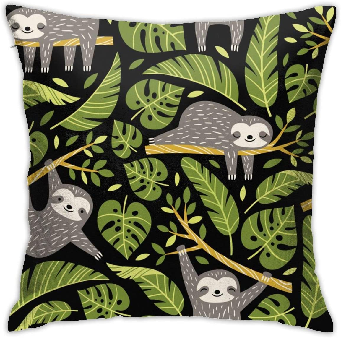 ZJBLHEQ Cute Sloths and Tropical Palm Leaves Throw Pillow Cover Decorative Pillow Cases Square Cushion Case for Sofa Bedroom Car 18 x 18 Inch
