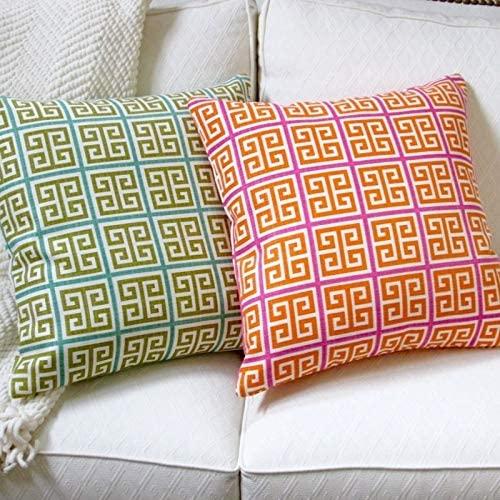 Artisan Pillows Indoor 18-inch Greek Key Green Blue Orange Pink Modern Geometric Throw Pillow Cover Orange