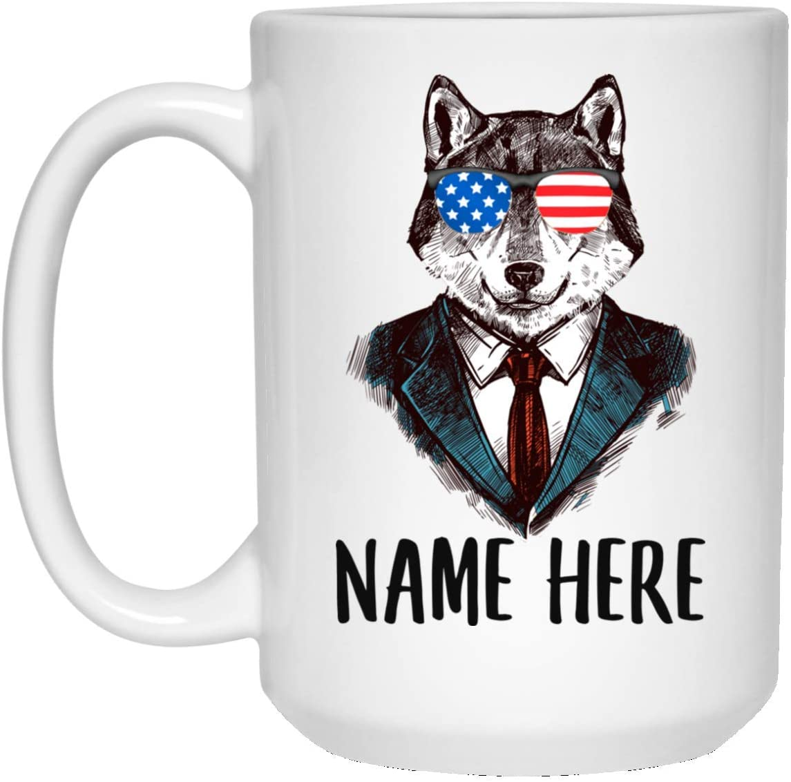 Personalized Name Wolf 2 With American Flag Sunglasses White Coffee Mug 15oz