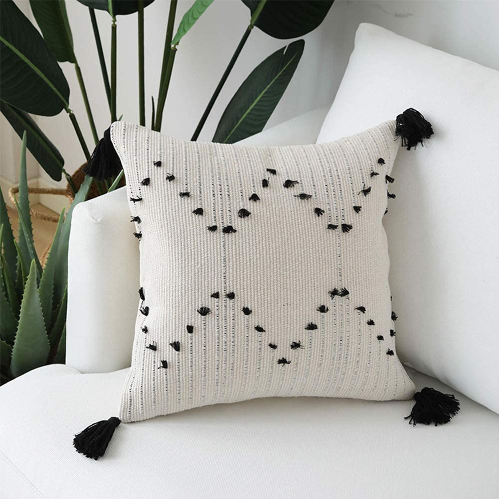 Unibedding Decorative Boho Tufted Throw Pillow Covers 18x18 Woven Pillow Case with Tassels Cushion Covers for Farmhouse, Kids, Home Decor, 2 Pack Black Creamy