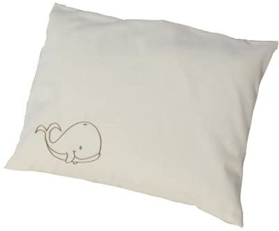 LIFEKIND Organic Toddler Pillow with Whale Pillowcase, 12 x 16 Inches