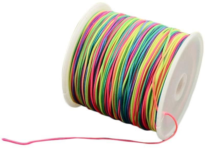 arricraft 150 Yards 0.5mm Nylon Cord, Nylon Beading String, Nylon Knotting Cord for Necklace Bracelet Beading Bracelet Making-Colorful