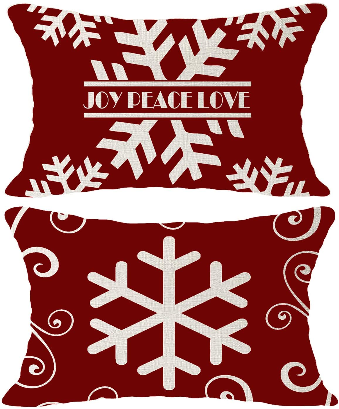Hysunland Set of 2 Winter Red Throw Pillow Covers for Outdoor Couch Decor Rectangle 12x20 Inch Boho Snowflakes Pillow Cases Pillow Shams Home Party Living Room Decorations