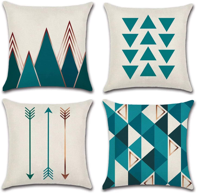 JOJUSIS Modern Geometric Throw Pillow Covers Cotton Linen Home Decor 18 x 18 inch Set of 4 Green