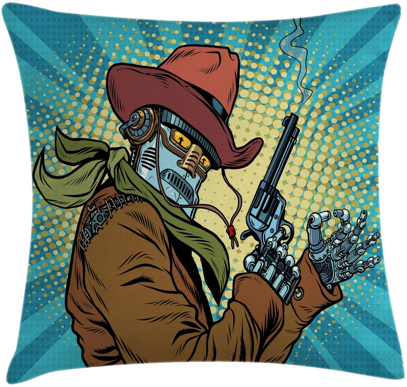 Ambesonne Blue Throw Pillow Cushion Cover, Steampunk and Western Style Robot Cowboy Makes OK Gesture Illustration, Decorative Square Accent Pillow Case, 20 X 20, Petrol Blue