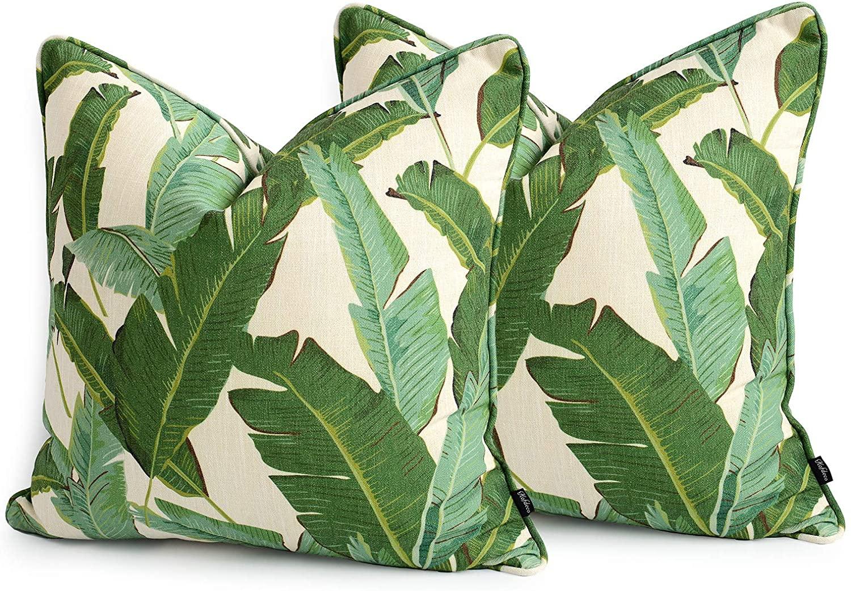 Hofdeco Decorative Throw Pillow Cover ONLY Premium Cotton Linen Tropical Leaf Tropical Banana Leaf 20x20 Set of 2