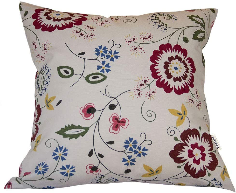 TangDepot 100% Cotton Floral Printcloth Decorative Throw Pillow Covers, Handmade,45 Colors,19 Sizes Avaliable, European Indoor/Outdoor Cushion Covers - (26