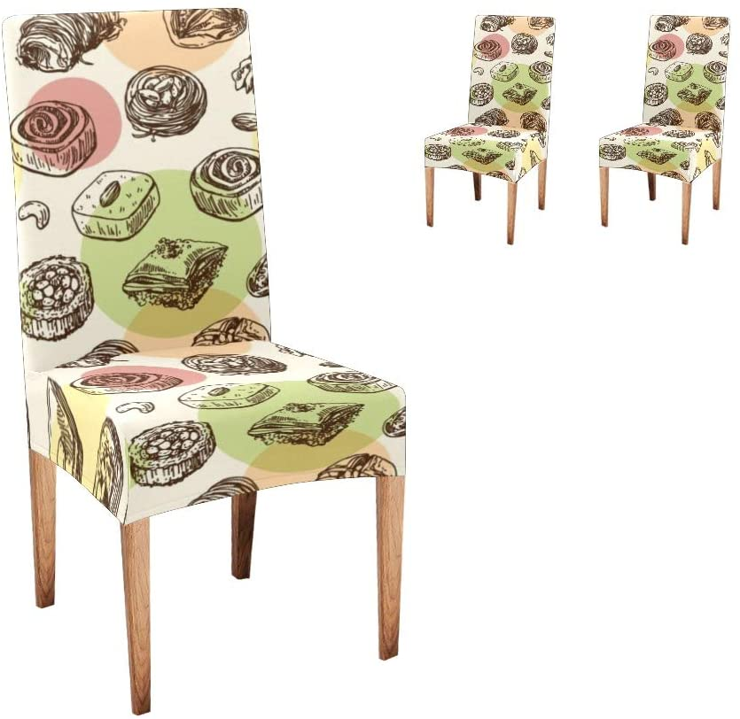 CUXWEOT Chair Covers for Dining Room Japanese Sushi Seat Covers Slipcovers for Party Decor (Set of 2)
