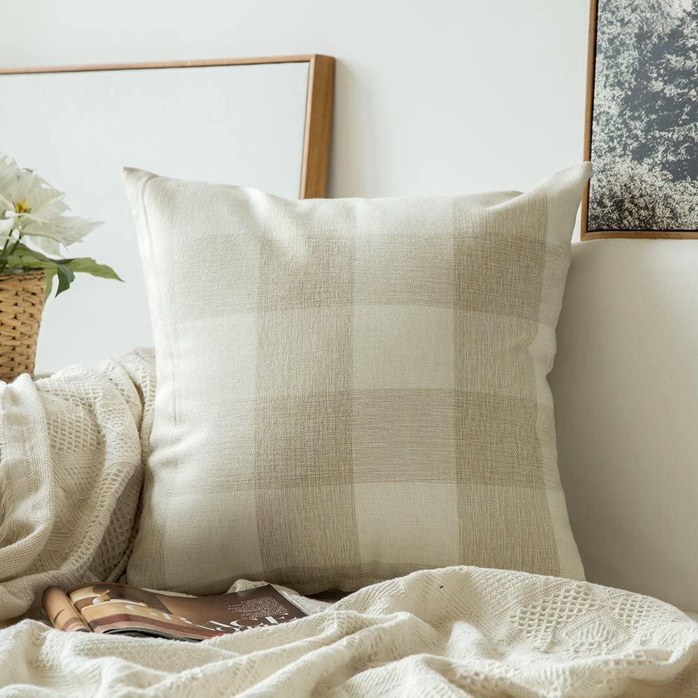 MIULEE Classic Retro Checkers Plaids Cotton Linen Soft Soild Decorative Square Throw Pillow Covers Home Decor Cushion Case for Sofa Bedroom Car 18 x 18 Inch 45 x 45 cm, Cream White and White