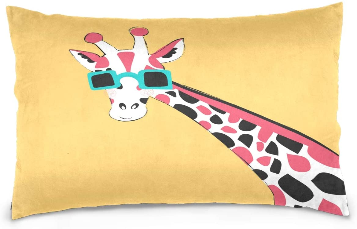Kaariok Funny Giraffe Animal Yellow Cotton Pillowcase Standard Size Double Printed Soft Pillow Case Cover Protector with Zipper Home 20 X 26 Inches