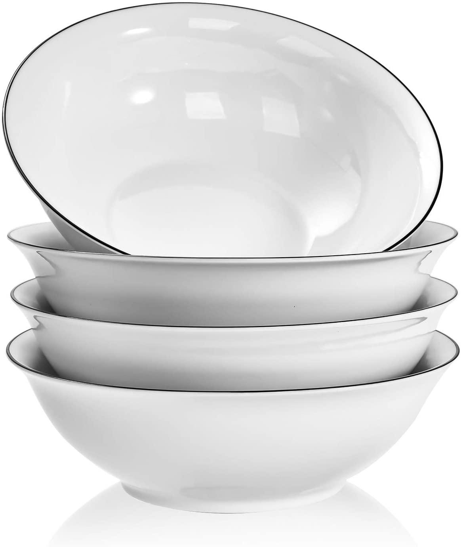 TGLBT Soup Bowl Sets, Porcelain Ramen Salad Bowl 48-Ounce, White, Set of 4, 9 Inch