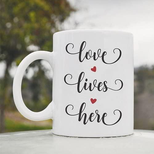 Love lives here Cute Funny 11oz Ceramic Coffee Mug Cup