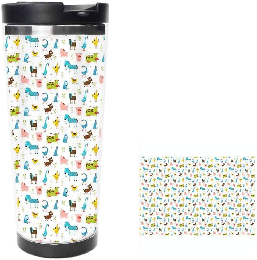 Farm Animals Pattern with Pig Rooster Cow Horse and Sheep Doodle Style IllustrationCoffee Cup,Drinking Cup, Female Male,Double stainless steel vacuum insulation,Thermos cup-14 oz-397ML