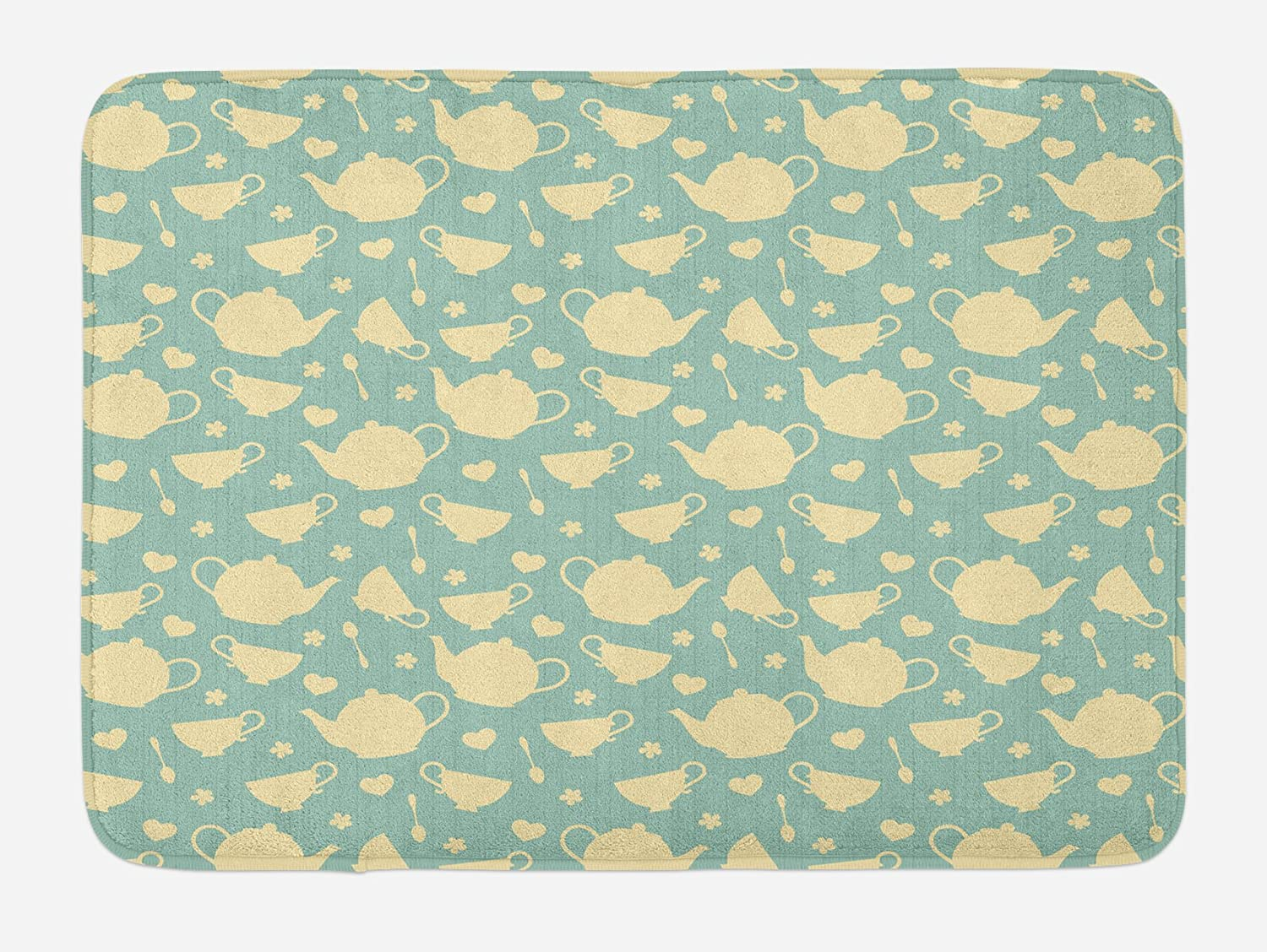 Ambesonne Tea Bath Mat, Tea Cup and Teapot Elements in Nostalgic British English Tradition Print, Plush Bathroom Decor Mat with Non Slip Backing, 29.5 X 17.5, Pale Yellow Turquoise