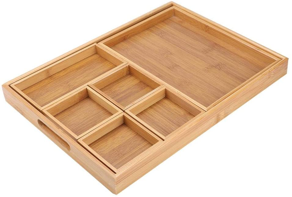 East buy Tea Tray, Combination Bamboo Dried Fruit Tray Snack Plate Holder for Home Tea Ceremony