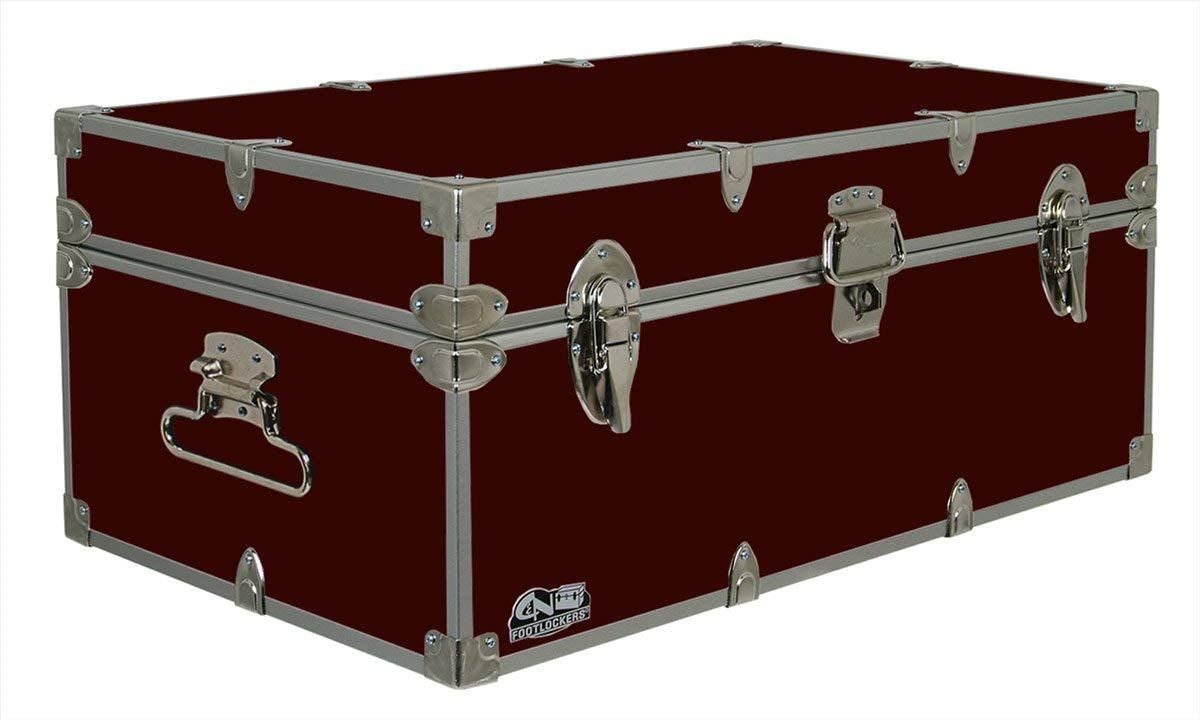 C&N Footlockers Happy Camper Storage Trunk - Summer Camp Chest - Durable with Lid Stay - 32 x 18 x 13.5 Inches (Maroon)