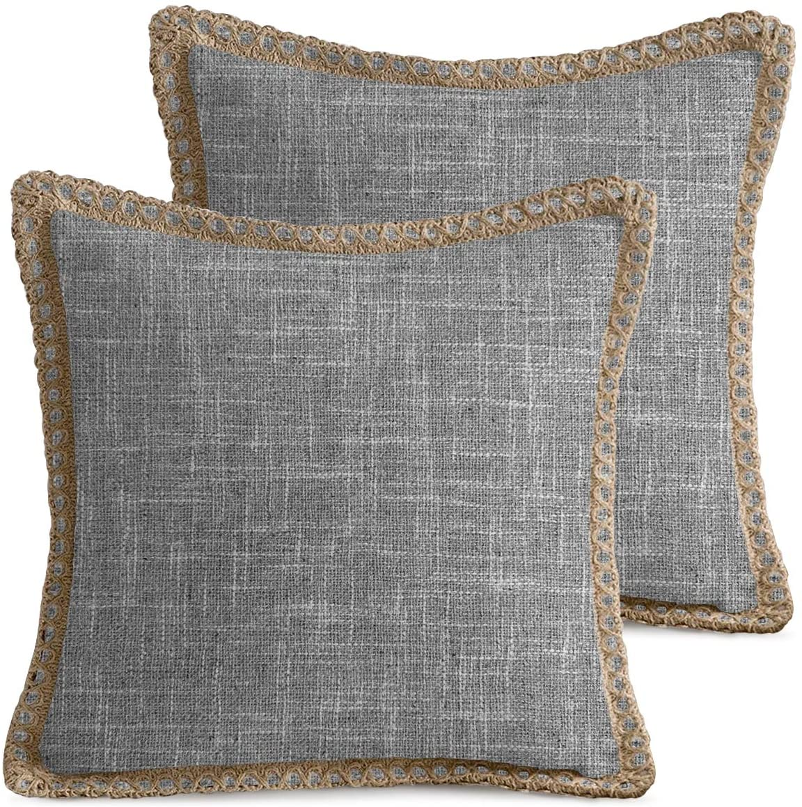 AVOIN Trimmed Edge Throw Pillow Cover, 18 x 18 Inch Farmhouse Decorative Cushion Case for Sofa Couch Grey Pack of 2