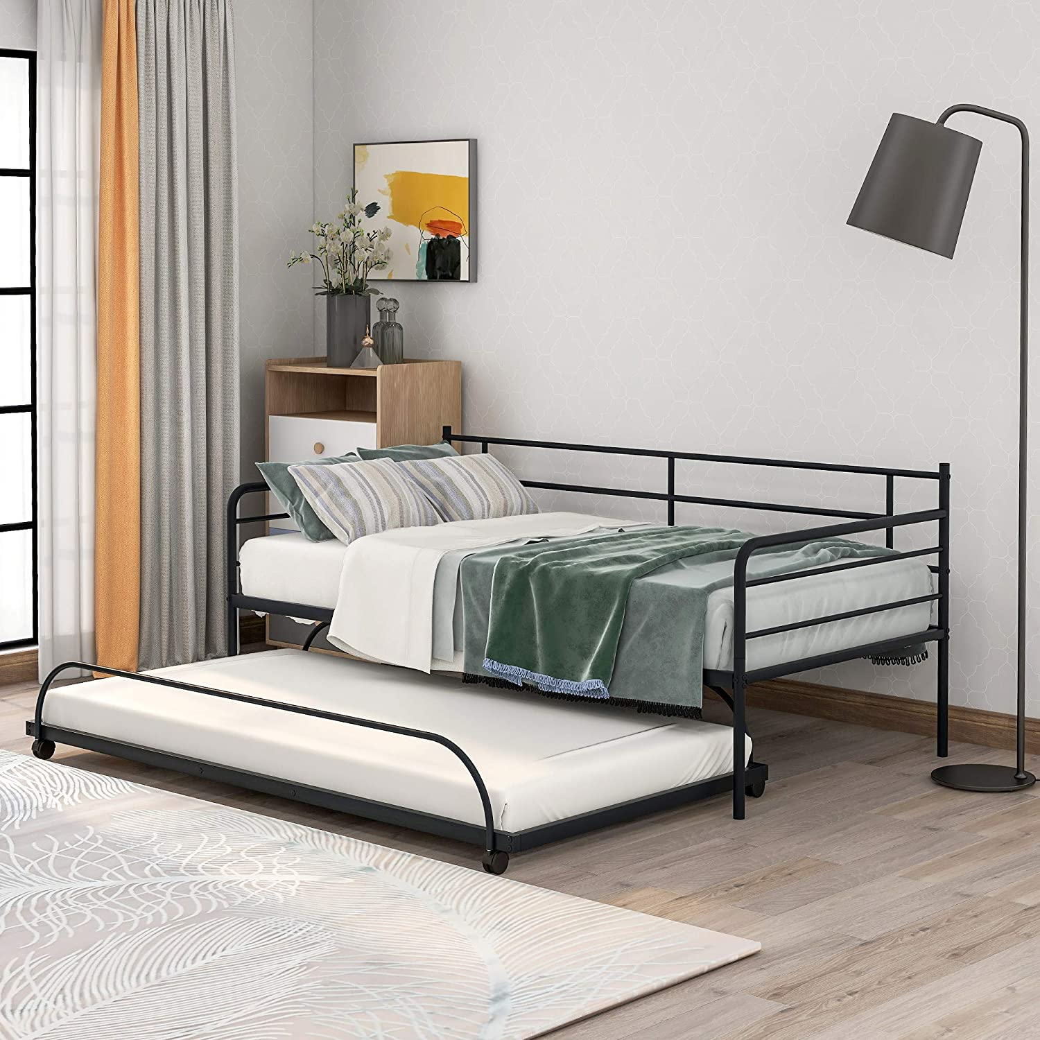 Knocbel Contemporary Metal Daybed Twin Platform Bed Frame Mattress Foundation with Trundle, 220 Lbs Capacity (Black)