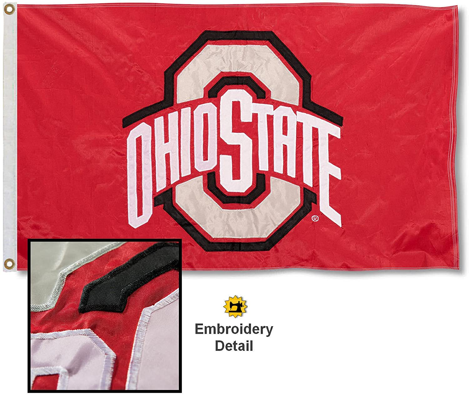 College Flags & Banners Co. Ohio State Buckeyes Embroidered and Stitched Nylon Flag