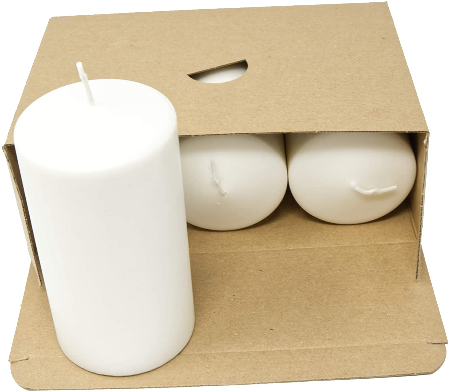 Coraz Home Pack of 3 Pillar White Candles Unscented Natural Wax Paraffin Free Natural Candles 70 mm x 130 mm Each Candle Night Lights Plastic Free in Kraft Box