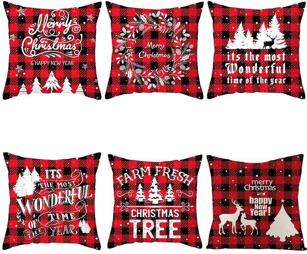 Newdiva New 6PC Christmas Cotton Linen Pillow Case Sofa Cushion Cover Home Decor