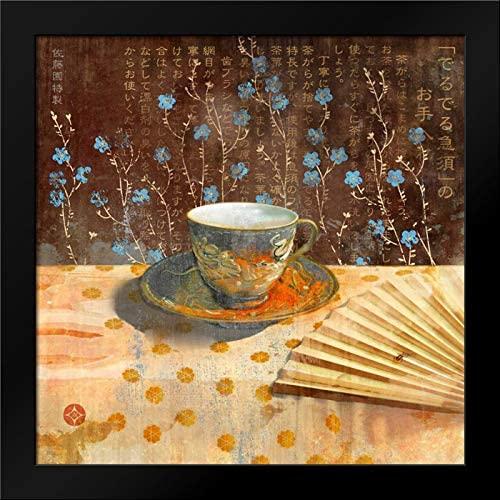 Evelia Designs 20x20 Black Modern Framed Art Print Titled Japanese Tea Cup II