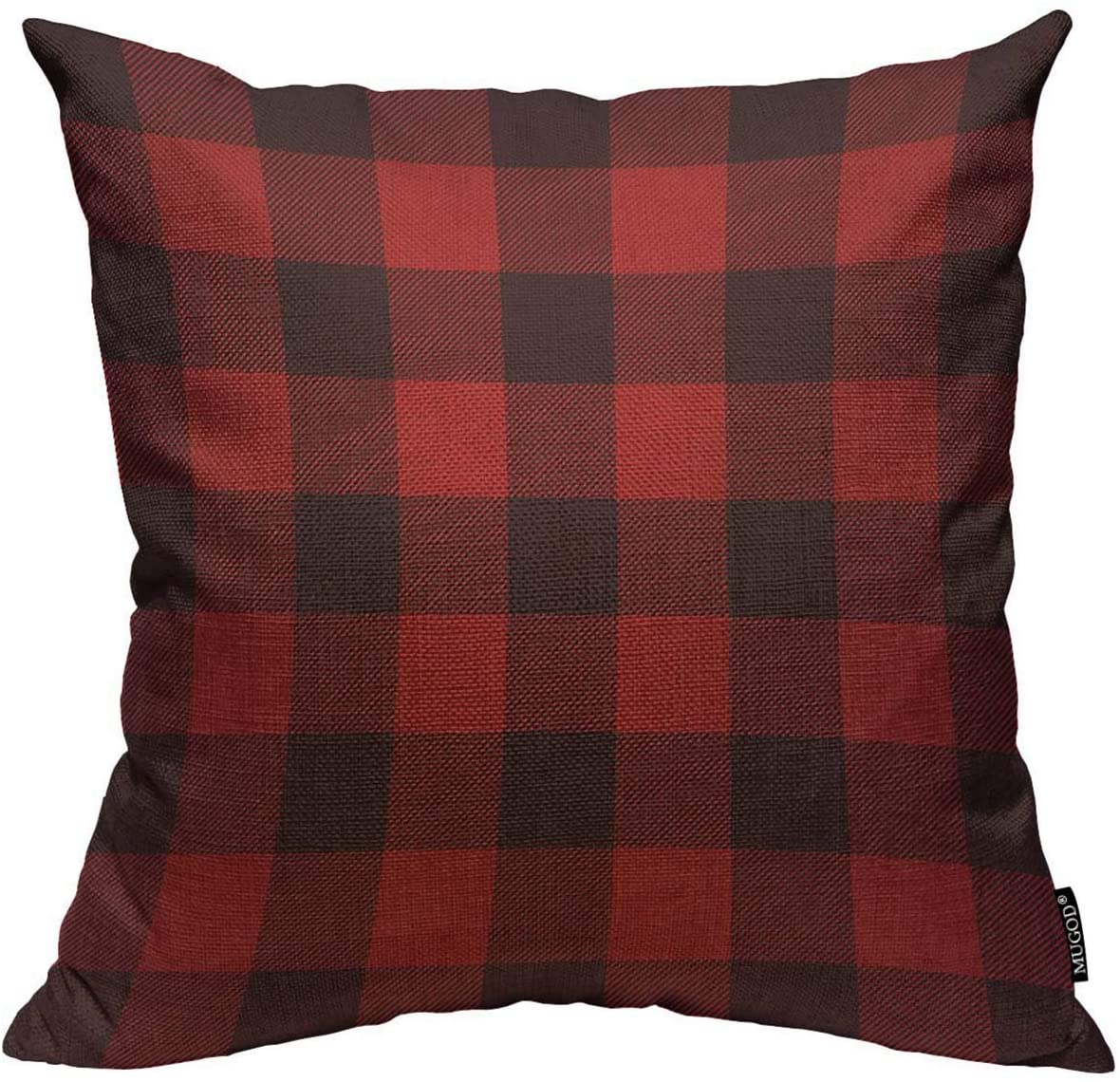 Mugod Buffalo Plaid Throw Pillow Cover Classic Lumberjack Plaid Pattern in Red and Black Home Decorative Square Pillow Case for Men Women Kids Bedroom Livingroom Cushion Cover 18