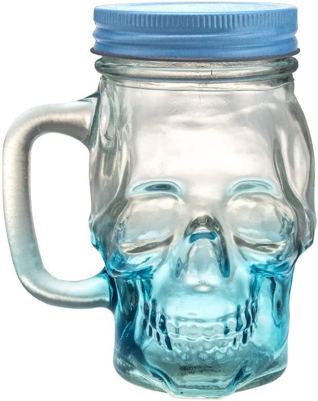 Mason Jar Skull Glass Drinking Mug 12 Ounce with Lid and Handle - Translucent Glass Mug and Stash Jar (Blue, 1)