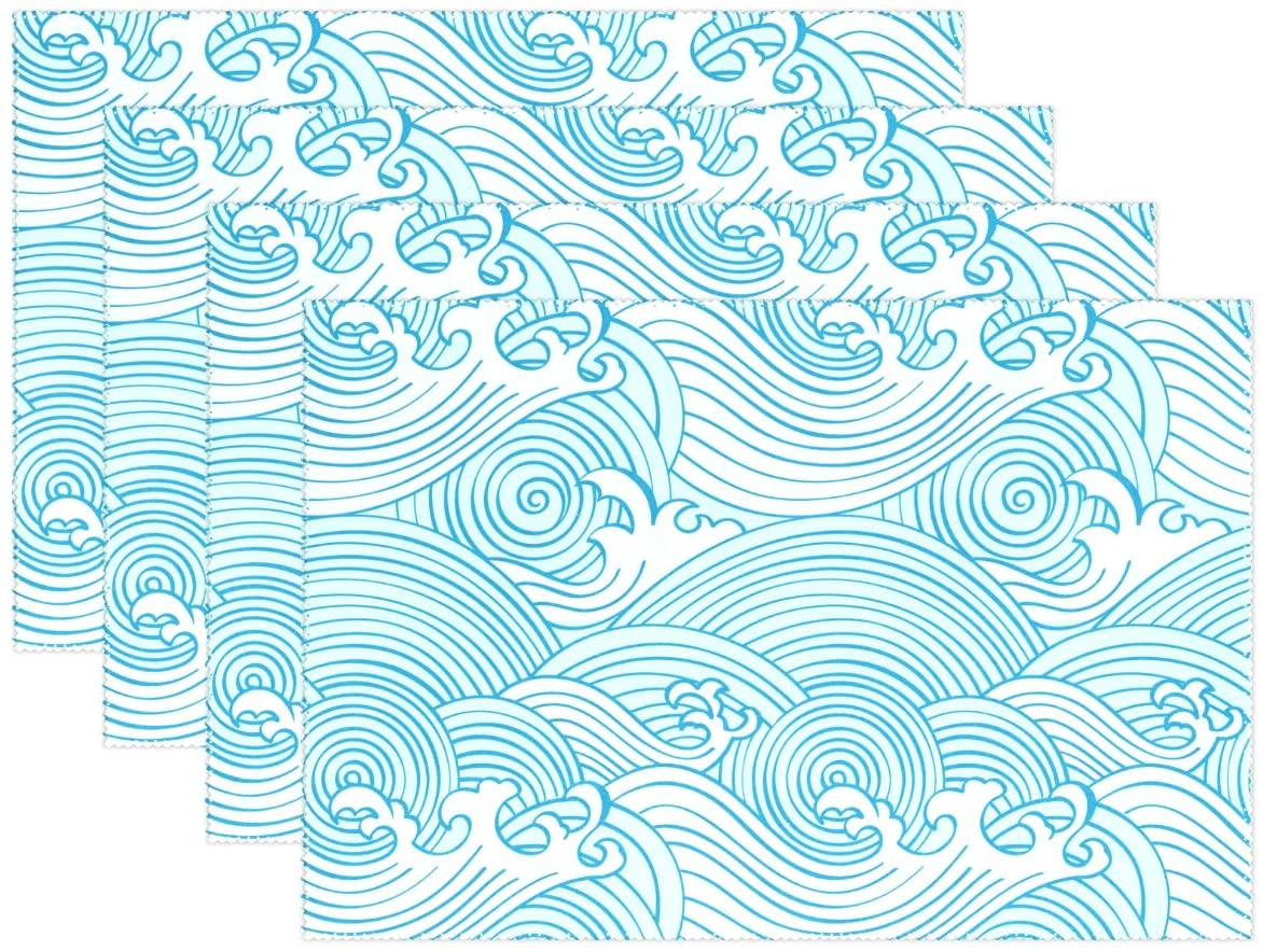 Yochoice ALAZA Japanese Blue Ocean Waves Placemat Plate Holder Set of 1, Polyester Table Place Mats Protector for Kitchen Dining Room 12 x 18