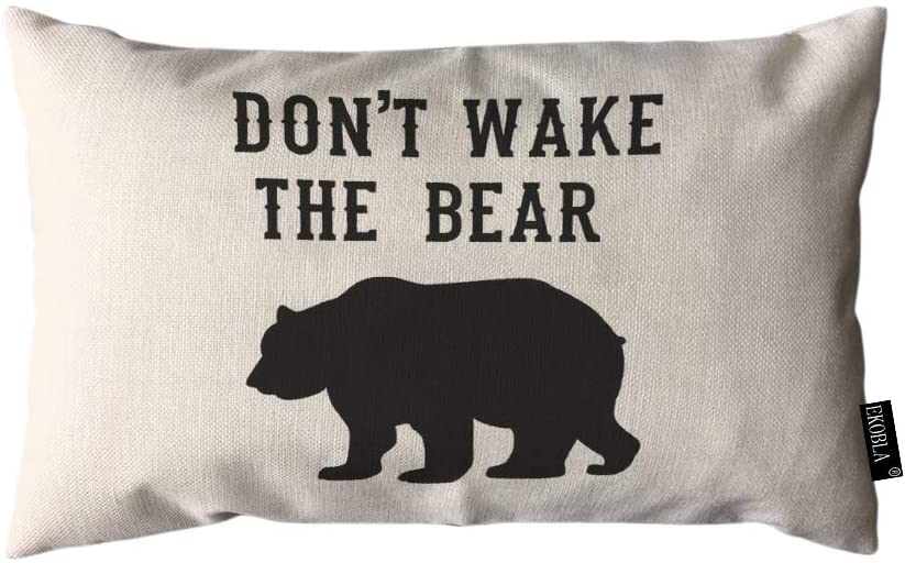 EKOBLA Throw Pillow Cover Don't Wake The Bear Portrait Cool Animal Fashion Black White Rectangular Throw Pillow Covers for Couch Sofa Home Decor Cotton Linen 12x20 Inch