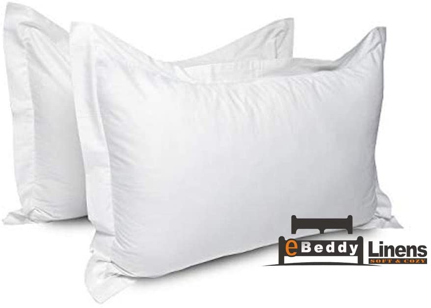 eBeddy Linens Pillow sham Set of 2 White Solid 800 Thread Count Superking (20x36) Size Envelope Closure Pillow Cover | Long Staple - Sateen Weave Silky Soft Natural Cotton | Breathable & Smooth Feel
