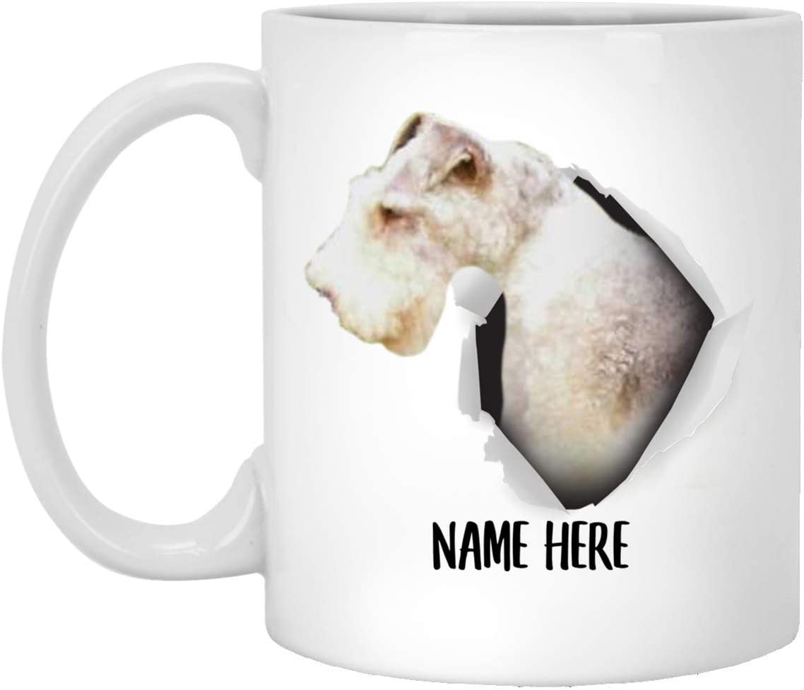Cute Fox Terrier White Tan Personalized Name White Coffee Mug 11oz