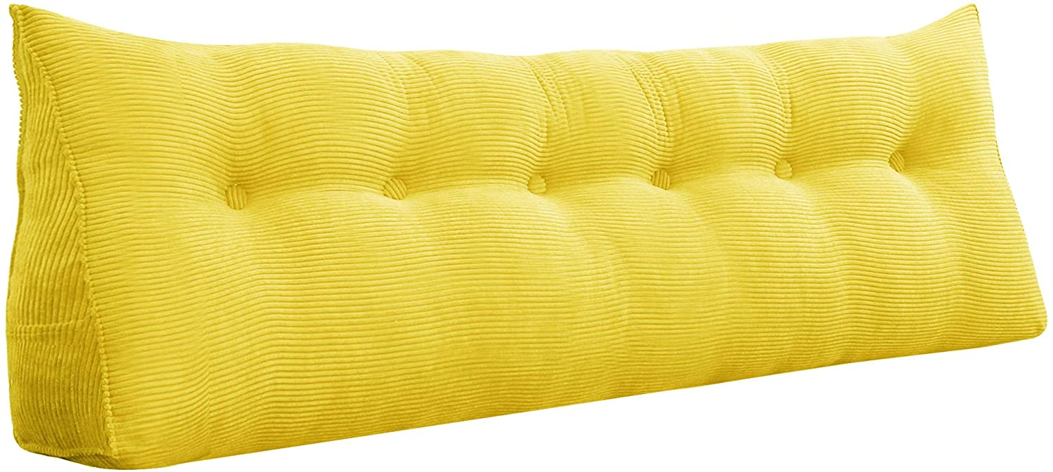 Roner Triangular Wedge Pillow Bed Backrest Pillow Upholstered Headboard Back Support for Reading Relaxing Daybed Pillow Yellow 71 Inches